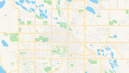 Illustration for Empty vector map of Fort Collins, Colorado, USA, printable road map created in classic web colors for infographic backgrounds. - Royalty Free Image