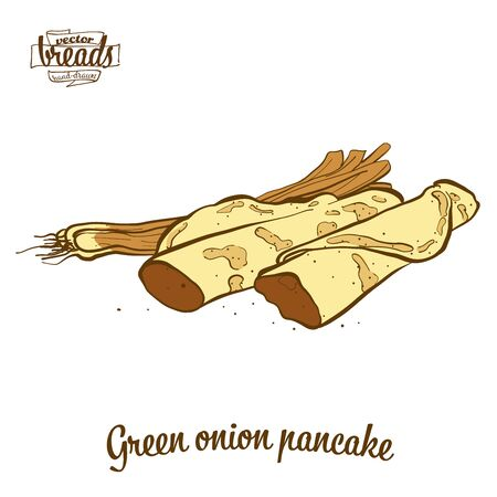 Green onion pancake bread. Vector illustration of Flatbread food, usually known in China. Colored Bread sketches.