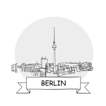 Berlin Hand-Drawn Urban Vector Sign. Black Line Art Illustration with Ribbon and Title.