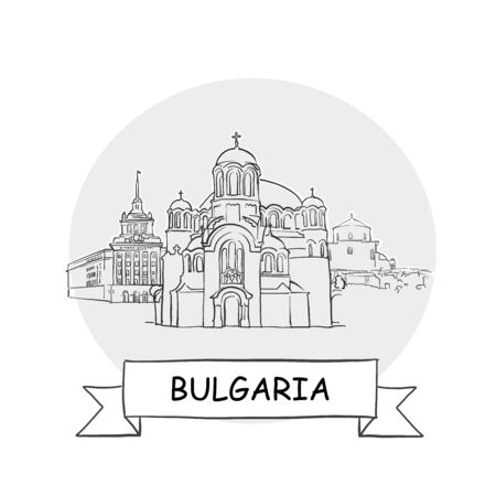 Bulgaria Hand-Drawn Urban Vector Sign. Black Line Art Illustration with Ribbon and Title.