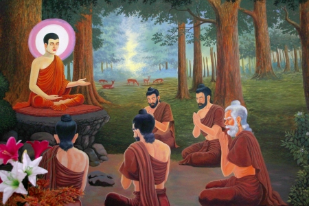 Buddha's biography painting on wall of temple, Wat Sri Sawat, Mahasarakham, Thailand