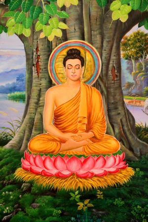 Buddha's biography painting on wall of temple, Wat Pa Samoson, Mahasarakham, Thailand