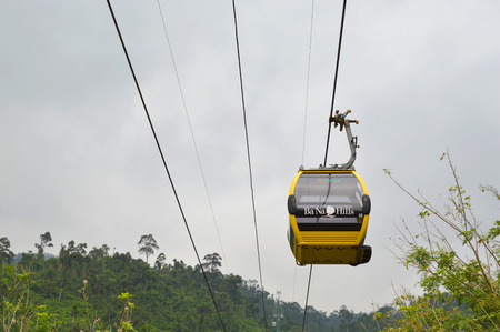 DA NANG, VIETNAM - MARCH 14   Cable cabs are running on high wire at Bana Hills on March 14, 2014 in Danang, Vietnam  Bana Hills is interesting tourist new places to visit