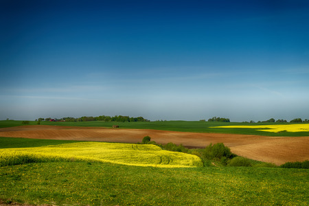 Photo pour Agricultural landscape with rolling hills, ploughed farm field, meadow and a trees in a field - image libre de droit
