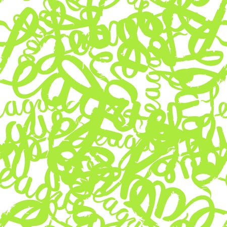 Seamless pattern graffiti lettering in college style. Bright green on white background