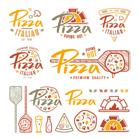 Set of pizzeria labels, badges, and design elements. Color print on white background