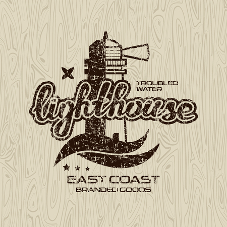 Lighthouse emblem for t-shirt with shabby texture. Black print on wood texture background