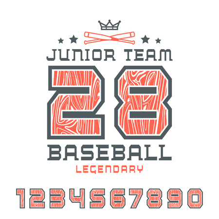 Sport numbers with contour and wood texture. Baseball print for t-shirt. Color print on white background