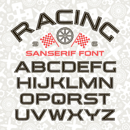 Sanserif font in retro racing style with contour. Black font on light pattern background