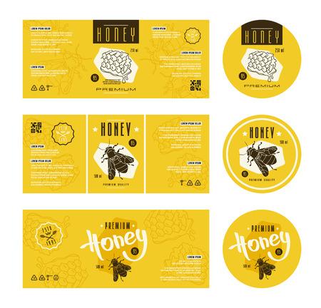 Illustration pour Set of templates label for honey. With hand-drawn graphic  - image libre de droit