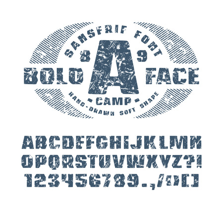 Sanserif Font With Hand Drawn Soft Shape Font Design For T Shirt Blue Print With Shabby Texture On White Background Royalty Free Vector Graphics