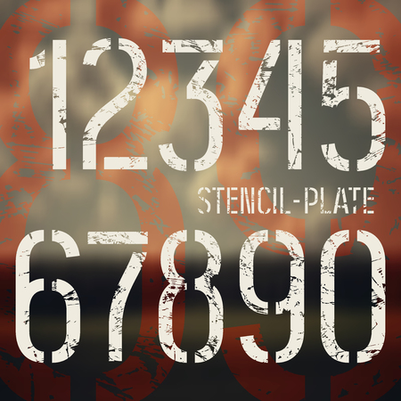 Stencil-plate numbers in military style with shabby texture. Medium face. Print on blurred background