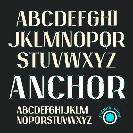 Uppercase decorative font with anchor points. Bold face. Color print on black background