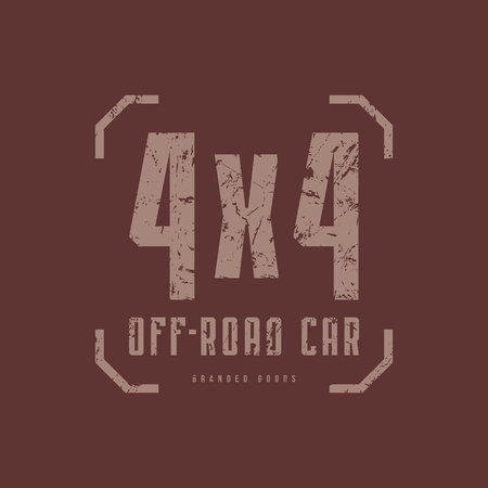Illustration for Off-road car emblem with rough texture for t-shirt. Gray print on brown background - Royalty Free Image