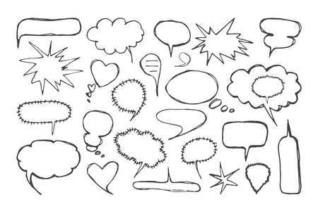 Illustration pour Set of blank speech bubbles in the style of handmade graphics. Isolated on white background - image libre de droit