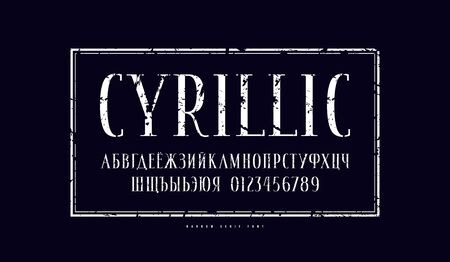 Illustration for Elegant cyrillic narrow serif font in antique style. Letters and numbers with vintage texture for logo, headline and label design. White print on black background - Royalty Free Image
