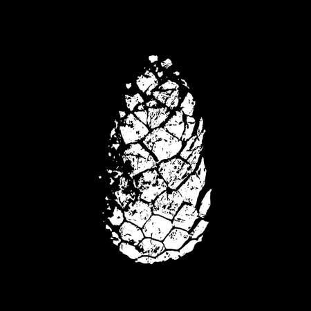 Illustration pour Pine cone silhouette. White print on black background - image libre de droit