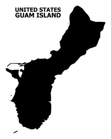 Vector Map of Guam Island with title. Map of Guam Island is isolated on a white background. Simple flat geographic map.