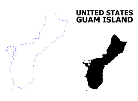 Vector contour Map of Guam Island with title. Map of Guam Island is isolated on a white background. Simple flat dotted geographic map template.