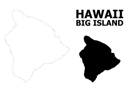 Illustration for Vector contour Map of Hawaii Big Island with title. Map of Hawaii Big Island is isolated on a white background. Simple flat dotted geographic map template. - Royalty Free Image