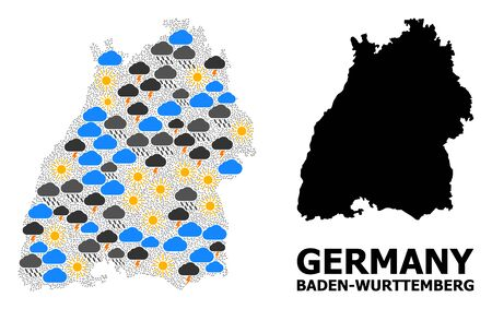 Climate mosaic vector map of Baden-Wurttemberg State. Geographic mosaic map of Baden-Wurttemberg State is constructed from scattered rain, cloud, sun, thunderstorm.