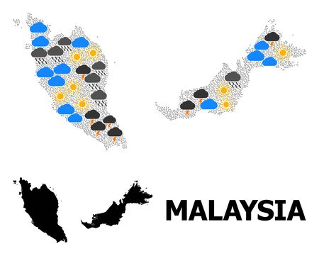 Weather collage vector map of Malaysia. Geographic collage map of Malaysia is designed from randomized rain, cloud, sun, thunderstorm elements. Vector flat illustration for weather forecst.