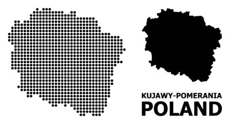 Pixel map of Kujawy-Pomerania Province composition and solid illustration. Vector map of Kujawy-Pomerania Province composition of circle elements on a white background.