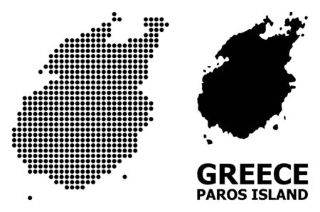 Dotted map of Paros Island composition and solid illustration. Vector map of Paros Island composition of spheric items on a white background.