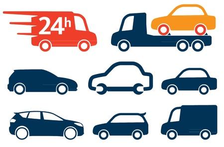 Illustration pour Simply cars icons, signs set - image libre de droit