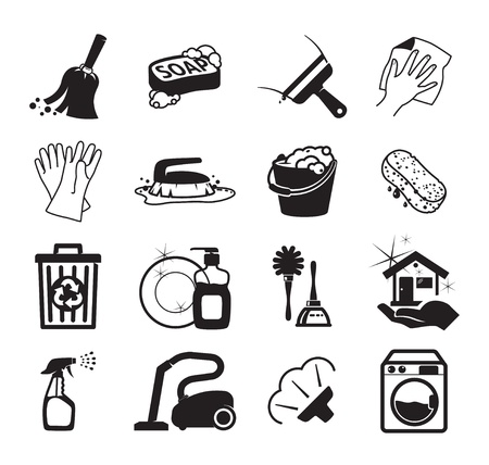 Monochromatic cleaning vector iconsのイラスト素材