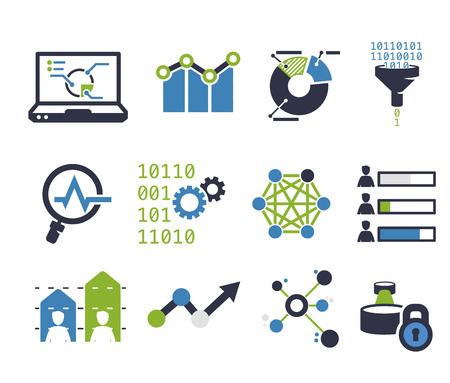 Data analytic icon set. Flat design