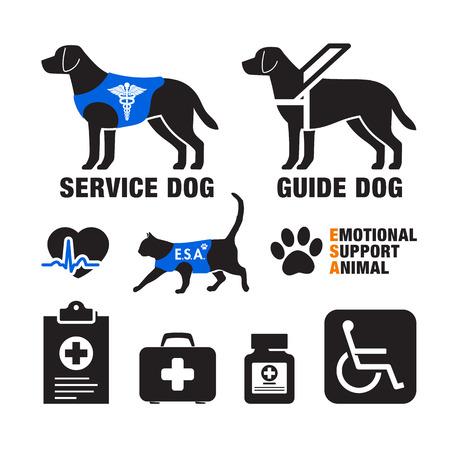 Ilustración de Service dogs and emotional support animals emblems. - Imagen libre de derechos