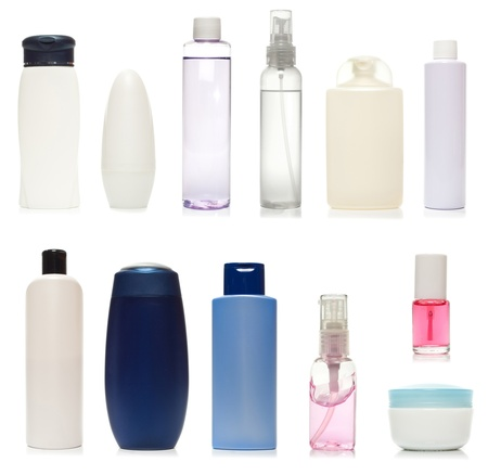 Set of plastic bottles of body care and beauty products