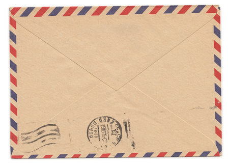 Photo pour Old paper envelope with meter stamp on rear side - image libre de droit