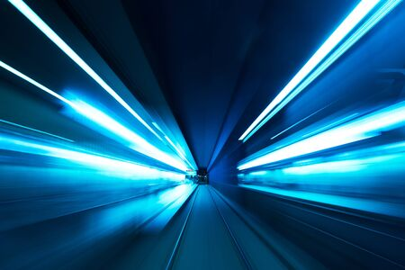 Photo for Subway tunnel motion speed rail blur - Royalty Free Image