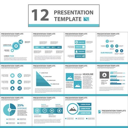 Blue multipurpose Presentation template flat design set