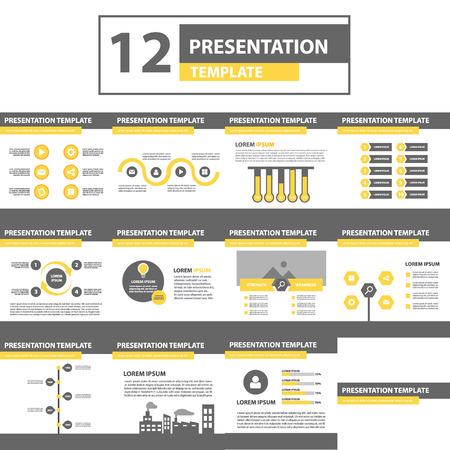 Yellow and black multipurpose presentation template flat design for brochure flyer