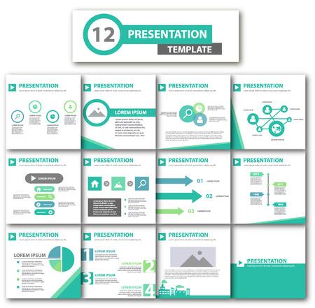 Green multipurpose presentation template flat design for brochure flyer
