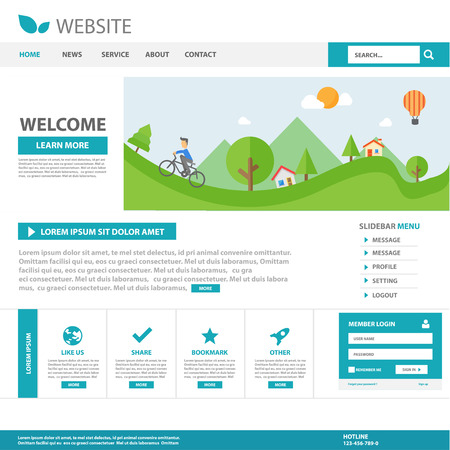 Illustration for Blue Multipurpose website template flat design - Royalty Free Image