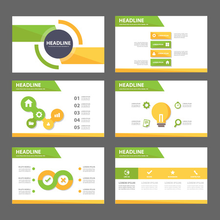 Green and yellow infographic element for presentation brochure flyer leaflet flat design