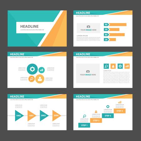 Orange and green blue multipurpose infogaphic presentation templates flat design set for advertising and marketing