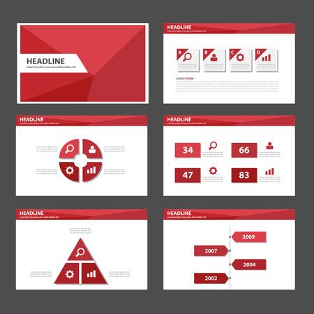 Red Polygon multipurpose infographic presentation templates flat design set for brochure flyer marketing advertising