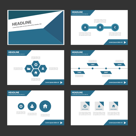 Blue polygon Multipurpose Infographic elements and icon presentation template flat design set for advertising marketing brochure flyer leaflet