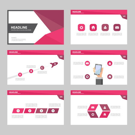 Ilustración de Pink Purple Annual report Multipurpose Infographic elements and icon presentation template flat design set for advertising marketing brochure flyer leaflet - Imagen libre de derechos