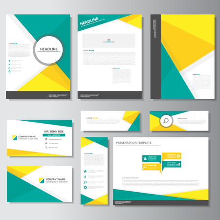 Illustration for Green yellow business brochure flyer leaflet presentation templates Infographic elements flat design set for marketing advertising - Royalty Free Image