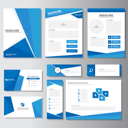 Illustration pour Blue business brochure flyer leaflet presentation templates Infographic elements flat design set for marketing advertising - image libre de droit