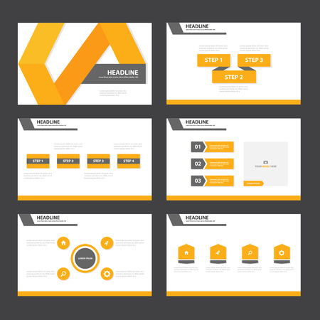 Illustration for Orange and Black presentation templates Infographic elements flat design set for brochure leaflet marketing advertising - Royalty Free Image