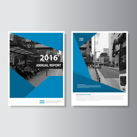 Illustration for Vector Leaflet Brochure Flyer template A4 size design, annual report book cover layout design, Abstract blue presentation templates - Royalty Free Image