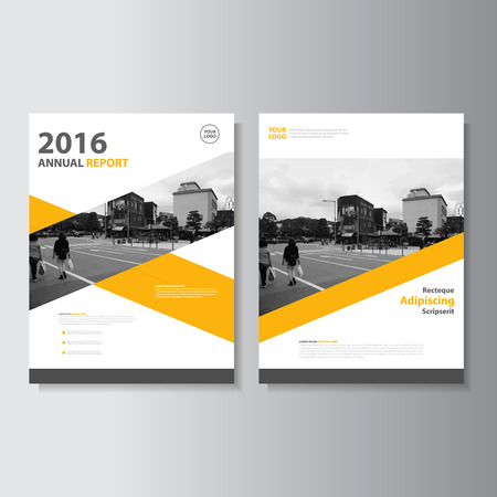Ilustración de Vector Leaflet Brochure Flyer template A4 size design, annual report book cover layout design, Abstract yellow presentation templates - Imagen libre de derechos