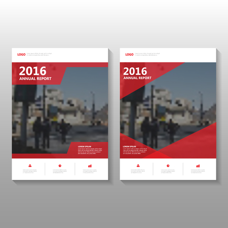 Ilustración de Red Vector annual report Leaflet Brochure Flyer template design, book cover layout design, Abstract Red presentation templates - Imagen libre de derechos
